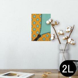 ポスター ウォールステッカー シール式ステッカー 飾り 127×178mm 2L 写真 フォト 壁 インテリア おしゃれ  剥がせる wall sticker poster 007292 星 スター ジッパー オレンジ
