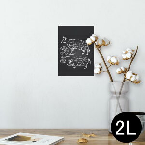 ポスター ウォールステッカー シール式ステッカー 飾り 127×178mm 2L 写真 フォト 壁 インテリア おしゃれ  剥がせる wall sticker poster 008358 白黒 牛 豚 肉 イラスト