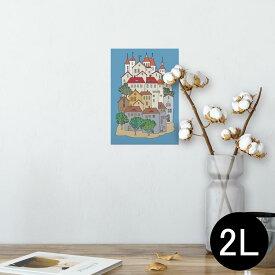 ポスター ウォールステッカー シール式ステッカー 飾り 127×178mm 2L 写真 フォト 壁 インテリア おしゃれ  剥がせる wall sticker poster 011197 建物 風景 イラスト