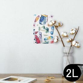 ポスター ウォールステッカー シール式ステッカー 飾り 127×178mm 2L 写真 フォト 壁 インテリア おしゃれ  剥がせる wall sticker poster 014579 海 ヤシの木 サーフィン