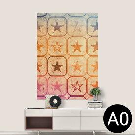 ポステッカー ポスター ウォールステッカー シール式ステッカー 飾り 841mm×1189mm A0 写真 フォト 壁 インテリア おしゃれ 剥がせる wall sticker poster 005361 星 ピンク オレンジ 青