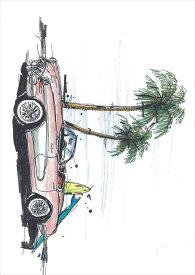 ポスター ウォールステッカー シール式ステッカー 飾り 420×594mm A2 写真 フォト 壁 インテリア おしゃれ  剥がせる wall sticker poster 014340 ヤシの木 車 サーフィン