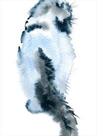 ポスター ウォールステッカー シール式ステッカー 飾り 420×594mm A2 写真 フォト 壁 インテリア おしゃれ  剥がせる wall sticker poster 014787 猫 後ろ姿 動物
