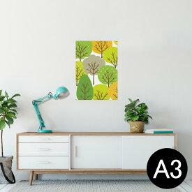 ポスター ウォールステッカー シール式ステッカー 飾り 297×420mm A3 写真 フォト 壁 インテリア おしゃれ  剥がせる wall sticker poster 008094 植物 木 イラスト 緑 グリーン