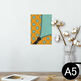 ポスター ウォールステッカー シール式ステッカー 飾り 148×210mm A5 写真 フォト 壁 インテリア おしゃれ  剥がせる wall sticker poster 007292 星 スター ジッパー オレンジ