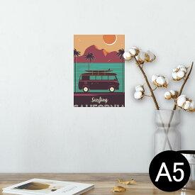 ポスター ウォールステッカー シール式ステッカー 飾り 148×210mm A5 写真 フォト 壁 インテリア おしゃれ  剥がせる wall sticker poster 014349 サーフィン 車 ヤシの木