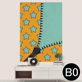 ポステッカー ポスター ウォールステッカー シール式ステッカー 飾り 1030mm×1456mm B0 写真 フォト 壁 インテリア おしゃれ 剥がせる wall sticker poster 007292 星 スター ジッパー オレンジ