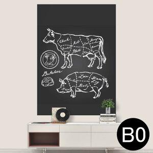 ポステッカー ポスター ウォールステッカー シール式ステッカー 飾り 1030mm×1456mm B0 写真 フォト 壁 インテリア おしゃれ 剥がせる wall sticker poster 008358 白黒 牛 豚 肉 イラスト