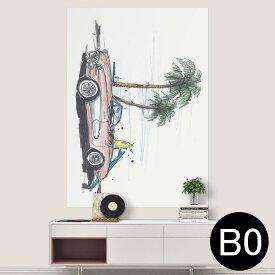 ポステッカー ポスター ウォールステッカー シール式ステッカー 飾り 1030mm×1456mm B0 写真 フォト 壁 インテリア おしゃれ 剥がせる wall sticker poster 014340 ヤシの木 車 サーフィン