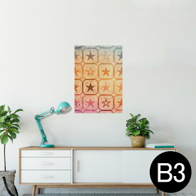 ポスター ウォールステッカー シール式ステッカー 飾り 364×515mm B3 写真 フォト 壁 インテリア おしゃれ  剥がせる wall sticker poster 005361 星 ピンク オレンジ 青
