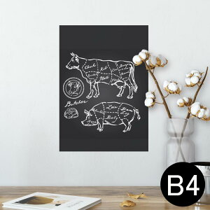 ポスター ウォールステッカー シール式ステッカー 飾り 257×364mm B4 写真 フォト 壁 インテリア おしゃれ  剥がせる wall sticker poster 008358 白黒 牛 豚 肉 イラスト