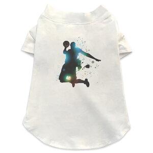 犬専用Tシャツ 選べる5size 小型犬 袖あり 半袖 ホワイト デザイン T shirt XS S M L XL ペットウェア ペット服 カジュアル おしゃれ コットン 綿 スポーツ バスケットボール ダンク 001170