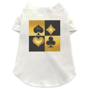 犬専用Tシャツ 選べる5size 小型犬 袖あり 半袖 ホワイト デザイン T shirt XS S M L XL ペットウェア ペット服 カジュアル おしゃれ コットン 綿 ユニーク トランプ ゴールド ブラック 001196