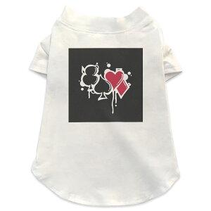 犬専用Tシャツ 選べる5size 小型犬 袖あり 半袖 ホワイト デザイン T shirt XS S M L XL ペットウェア ペット服 カジュアル おしゃれ コットン 綿 ユニーク クローバー トランプ 001528