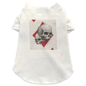 犬専用Tシャツ 選べる5size 小型犬 袖あり 半袖 ホワイト デザイン T shirt XS S M L XL ペットウェア ペット服 カジュアル おしゃれ コットン 綿 ユニーク ドクロ 骸骨 トランプ 002964