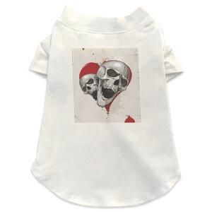 犬専用Tシャツ 選べる5size 小型犬 袖あり 半袖 ホワイト デザイン T shirt XS S M L XL ペットウェア ペット服 カジュアル おしゃれ コットン 綿 ユニーク ドクロ 骸骨 ハート トランプ 002967