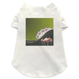 犬専用Tシャツ 選べる5size 小型犬 袖あり 半袖 ホワイト デザイン T shirt XS S M L XL ペットウェア ペット服 カジュアル おしゃれ コットン 綿 ユニーク イラスト トランプ カジノ 008833