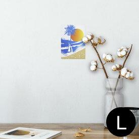ポスター ウォールステッカー シール式ステッカー 飾り 89×127mm L版 写真 フォト 壁 インテリア おしゃれ  剥がせる wall sticker poster 001408 海 太陽 ヤシの木 ヨット