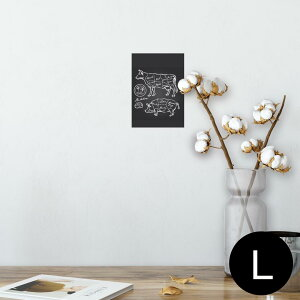 ポスター ウォールステッカー シール式ステッカー 飾り 89×127mm L版 写真 フォト 壁 インテリア おしゃれ  剥がせる wall sticker poster 008358 白黒 牛 豚 肉 イラスト