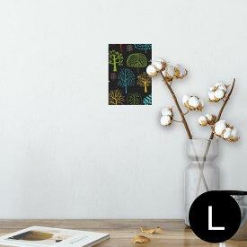 ポスター ウォールステッカー シール式ステッカー 飾り 89×127mm L版 写真 フォト 壁 インテリア おしゃれ  剥がせる wall sticker poster 011955 木 黒 カラフル