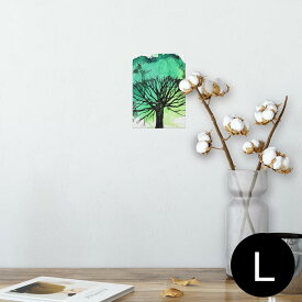 ポスター ウォールステッカー シール式ステッカー 飾り 89×127mm L版 写真 フォト 壁 インテリア おしゃれ  剥がせる wall sticker poster 014487 木 イラスト 緑