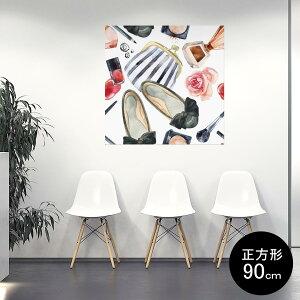 ポスター ウォールステッカー シール式ステッカー 飾り 90×90cm Lsize 正方形 壁 インテリア おしゃれ 剥がせる wall sticker poster 012600 くつ おしゃれ 財布