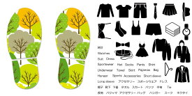デザイン靴置きステッカー 大人用靴置き マーク くつ 収納 シール ステッカー 整理整頓 ウォールステッカー ラベルシール ミニマリスト 服 玄関 60×30cm 008094 植物 木 イラスト 緑 グリーン