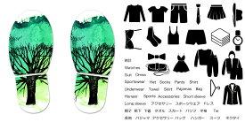 デザイン靴置きステッカー 大人用靴置き マーク くつ 収納 シール ステッカー 整理整頓 ウォールステッカー ラベルシール ミニマリスト 服 玄関 60×30cm 014487 木 イラスト 緑