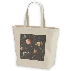 デザイントートバッグ Lsize キャンバス デイパック バッグ レディースバッグ ホワイト ブラック ネイビー white black navy  015918 太陽系 宇宙 惑星