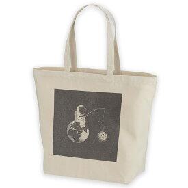 デザイントートバッグ Lsize キャンバス デイパック バッグ レディースバッグ ホワイト ブラック ネイビー white black navy  016029 宇宙 地球 星