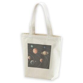 デザイントートバッグ Msize キャンバス デイパック バッグ レディースバッグ ホワイト ブラック ネイビー white black navy015918 太陽系 宇宙 惑星