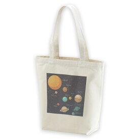 デザイントートバッグ Msize キャンバス デイパック バッグ レディースバッグ ホワイト ブラック ネイビー white black navy015996 太陽系 宇宙 惑星