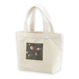 デザイントートバッグ Ssize キャンバス デイパック バッグ レディースバッグ ホワイト ブラック ネイビー white black navy 015918 太陽系 宇宙 惑星