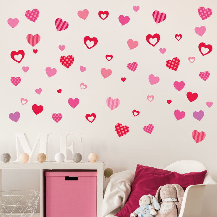 ウォールステッカー バレンタイン Valentine 飾り ハート ガーランド 60×60cm シール式 装飾 告白 おしゃれ 壁紙 はがせる 剥がせる カッティングシート wall sticker 雑貨 ガラス 窓 DIY プチリフォーム パーティー イベント 賃貸