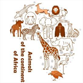 陸の生物☆シール式ウォールステッカー 動物 animal 鳥 きりん ぞう 犬 猫 飾り 90×90cm 剥がせる カッティングシート wall sticker 雑貨 016536