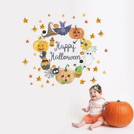 ハロウィン☆シール式ウォールステッカー halloween ハロウィーン かぼちゃ おばけ ランタン パーティ 文字 魔女 かわいい おしゃれ 大人 trick or treat ハロウィーン お菓子 90×90cm リース 星 パーティ 016981