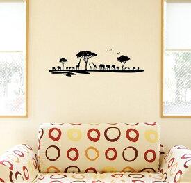 ウォールステッカー 飾り 60×60cm シール式 装飾 おしゃれ 壁紙 はがせる 剥がせる カッティングシート wall sticker 雑貨 DIY プチリフォーム パーティー イベント 賃貸 009754 動物 サファリ モノクロ