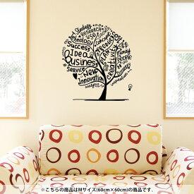 ウォールステッカー 飾り 60×60cm シール式 装飾 おしゃれ 壁紙 はがせる 剥がせる カッティングシート wall sticker 雑貨 DIY プチリフォーム パーティー イベント 賃貸 014608 英語 木 植物