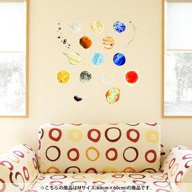 ウォールステッカー 飾り 60×60cm シール式 装飾 おしゃれ 壁紙 剥がせる DIY プチリフォーム パーティー 賃貸 015978 太陽系 宇宙 惑星