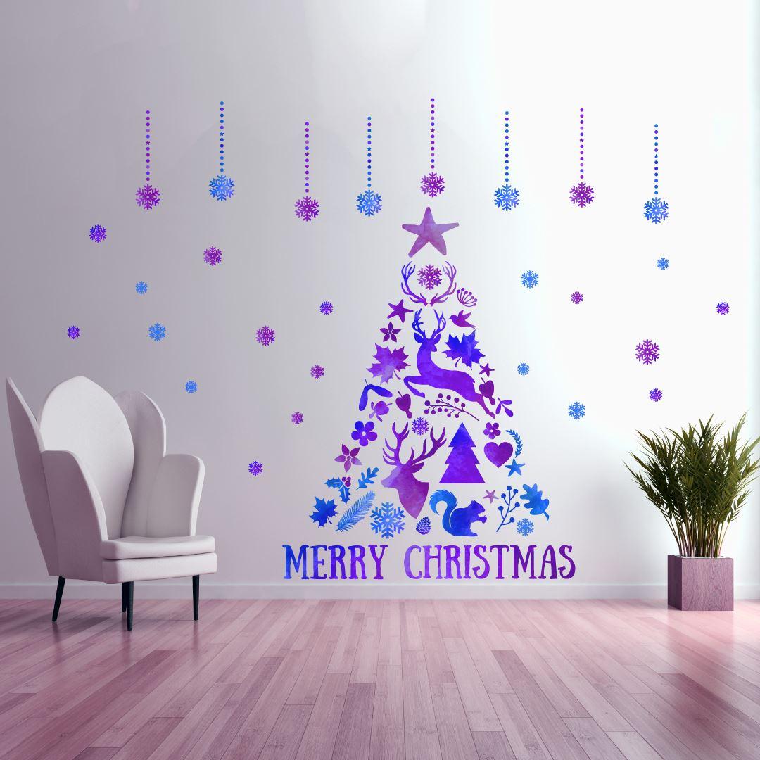 ウォールステッカー クリスマス Christmas 飾り 60×60cm Msize シール式 装飾 オーナメント ツリー リース 2018 xmas Xmas 壁紙 はがせる 剥がせる カッティングシート wall sticker 雑貨 ガラス 窓 DIY サンタ プチリフォーム パーティー イベント 賃貸 サンタ