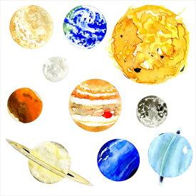 宇宙・惑星☆ シール式ウォールステッカー ウォールステッカー 飾り 30×30cm プラネット 地球 アース 月 月の満ち欠け 太陽系 solar system 剥がせる カッティングシート wall sticker 雑貨 DIY 016094