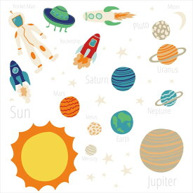 宇宙・惑星☆ シール式ウォールステッカー ウォールステッカー 飾り 30×30cm プラネット 地球 アース 月 月の満ち欠け 太陽系 solar system 剥がせる カッティングシート wall sticker 雑貨 DIY 016097