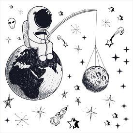 宇宙・惑星☆ シール式ウォールステッカー ウォールステッカー 飾り 30×30cm プラネット 地球 アース 月 月の満ち欠け 太陽系 solar system 剥がせる カッティングシート wall sticker 雑貨 DIY 016101