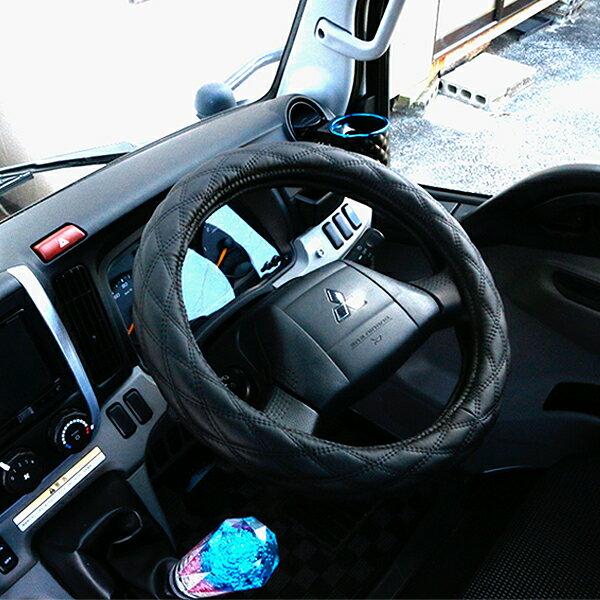 ハンドルカバー トラック 2t/4t/大型車対応 MLサイズ/LMサイズ/2HSサイズ/2Lサイズ/2HLサイズ レザー ステアリングカバー エナメル ブラック トラック用品 汎用 パーツ