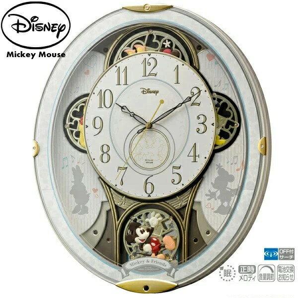【ディズニー からくり 電波 時計】 ミッキー&フレンズ M509 4MN509MC03 ステップ秒針 夜眠る秒針 メロディ スワロフスキー ディズニー ミッキーマウス リズム RHYTHM 【お取り寄せ】【名入れ】【Disneyzone】【30%OFF】 【お取り寄せ】 【父の日 ギフト 結婚祝】
