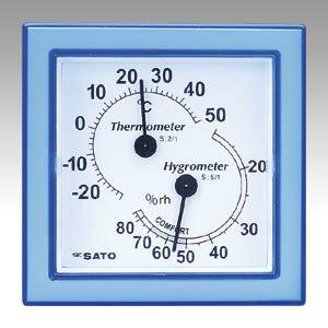 佐藤計量器【AC】温湿度計ミニ ブルー1006-00 ブルー★【100600 ブルー】