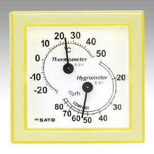 佐藤計量器【AC】温湿度計ミニ イエロー1006-30 イエロー★【100630 イエロー】
