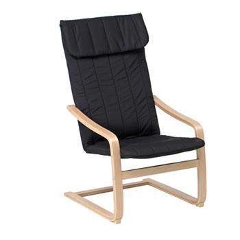 不二貿易【組立が必要】リラックスチェアー スリム 椅子 FUJI-84055(ブラック)★【A1041E-BK】
