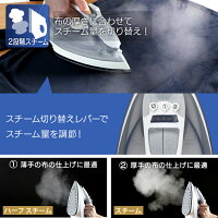 アイロンしわ伸ばし家電霧吹きハンガーにかけたままスチームアイロンIRN-21Cホワイト/グレーピンクアイリスオーヤマ