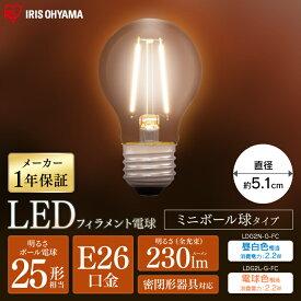 【2個セット】LEDフィラメント電球 E26 25形相当 ミニボール球タイプ LDG2N-G-FC LDG2L-G-FC 昼白色相当 電球色相当 電球 照明 LED ライト Light 電気 電灯 室内 屋内 部屋 明るい 長寿命 アイリスオーヤマ